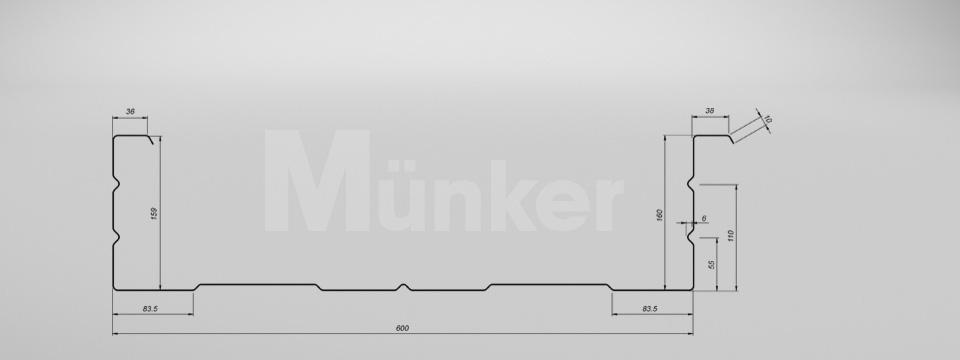 M 160/600 CAD-Zeichnung negativ