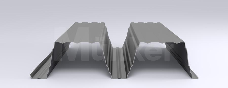 Trapezprofil M 200/420 MÜC 9006, Weißaluminium, positiv