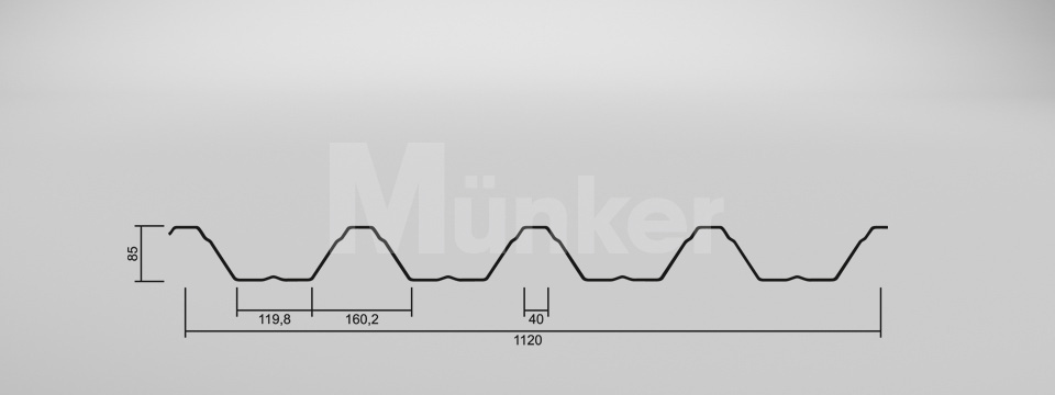 Trapezprofil M 85/280 CAD Zeichnung negativ